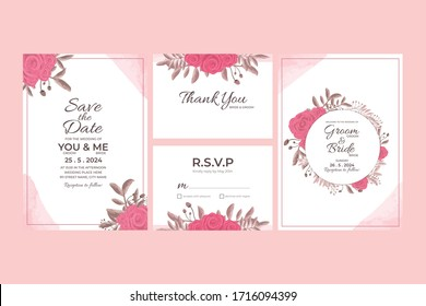 Watercolor Wedding Invitation Vector With Floral Decorations