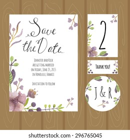Watercolor wedding set. Save the date, sticker number for the table, card thank you.