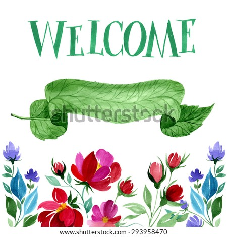 watercolor welcome card hand drawn floral stock vector royalty free