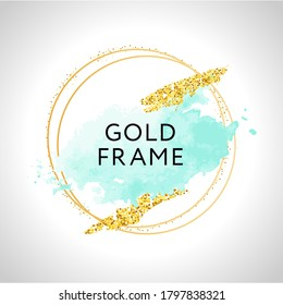 Watercolor White and turquoise brush strokes and rose gold frame. Abstract vector background.