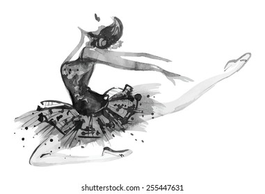 Watercolor white/black ballerina, vector