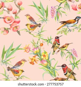 Watercolor Wild exotic birds on flowers seamless pattern on pink background vector illustration