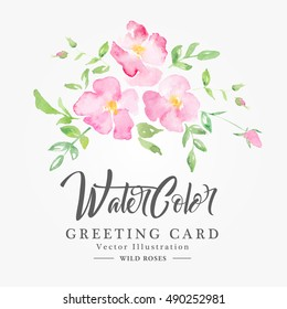 Watercolor wild roses - floral background. Pink fragile flowers on a white background. Fresh romantic design for invitation, wedding or greeting cards
