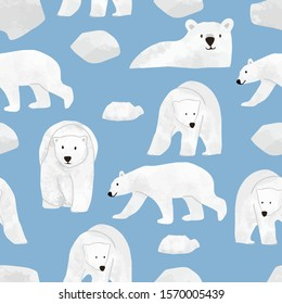 Watercolor winter background with polar bear,ice.Vector illustration seamless pattern for background,wallpaper,frabic.Editable element