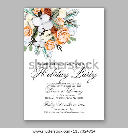 watercolor winter christmas party invitation peach stock vector