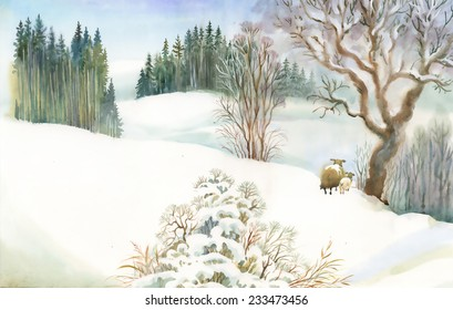 Watercolor winter landscape with sheeps vector illustration