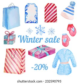 Watercolor Winter Sale objects isolated on white background. Hand drawn shopping illustration with package, hat, gift box, snowflakes, labels, fur coat and mittens.