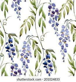 watercolor, wisteria ,pattern
