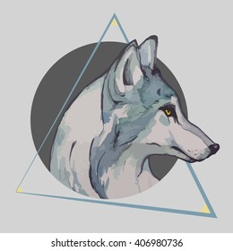 watercolor wolf with geometric figures