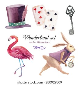 Watercolor wonderland set. Hand drawn vintage art work with white rabbit, playing cards, silver key, cylinder hat and flamingo. Vector fairy tale illustrations isolated on white background