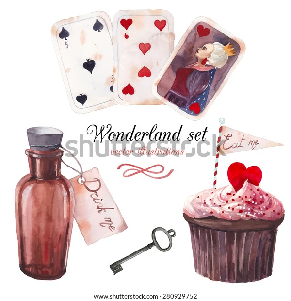 Watercolor wonderland set. Hand drawn vintage art work with eat me cupcake, playing cards, old silver key, drink me bottle. Vector fairy tale illustrations isolated on white background
