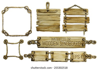 Watercolor  wooden signboards hanging on a rope and rope frames. Vector set isolated on white background