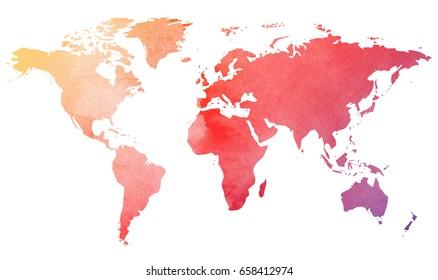 Watercolor World Map. Earth