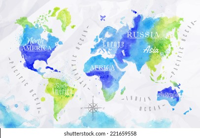 Watercolor world map in green and blue colors on a background of crumpled paper