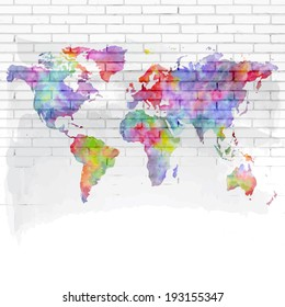 Watercolor world map on a brick wall vector background