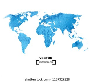 Watercolor world map on the white background