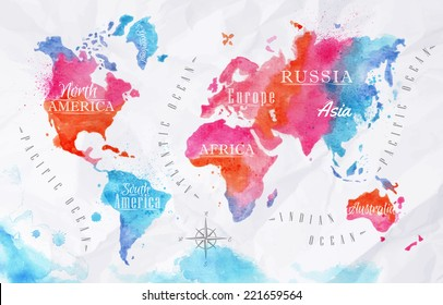 Watercolor world map in pink and blue colors on a background of crumpled paper