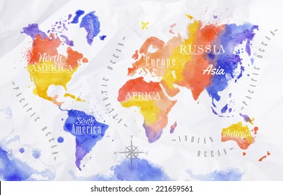 Watercolor world map in red and purple colors on a background of crumpled paper