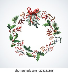 Watercolor wreath with Christmas plants. Watercolor. Christmas decor. Ideal for design Christmas gifts and scrapbooking.  Illustration for greeting cards, invitations, and other printing projects.