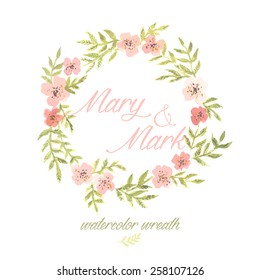 watercolor wreath with flowers and leaves on white background. wedding invitation template