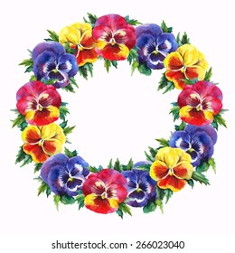 Watercolor wreath of pansies. Vector hand drawn illustration
