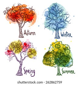 Watercolor year seasons tree decorative icons set isolated vector illustration