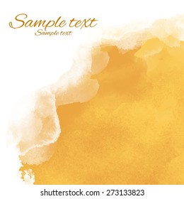 Watercolor yellow sand rough corner background texture closeup. Top view