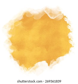 Watercolor yellow sand rough spot closeup isolated on white background. Top view