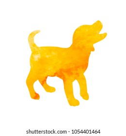 watercolor yellow silhouette dog