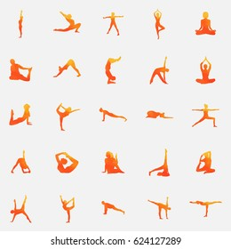 Watercolor yoga. Yoga silhouette set. Silhouette on a beautiful watercolor background