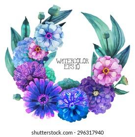 Watercolor zinnia wreath. Vector frame for text