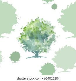 Watercolored green oak tree seamless vector pattern