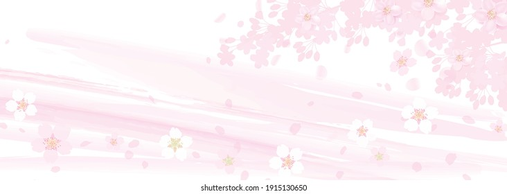 Watercolor-like border pattern and cherry blossoms