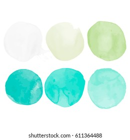 Watercolors blobs. Set of colorful watercolor hand painted circle isolated on white. Illustration for artistic design.