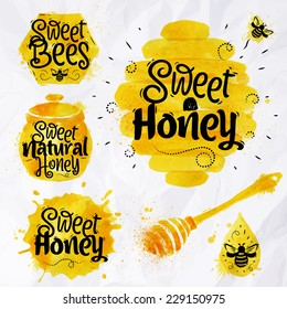Watercolors honey symbols honeycomb, beehive, spot, keg with lettering