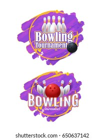 Watercolors Vector Background. Bowling Event Info Postcard Design Sports Ad Web Banner, Realistic Ball and Tenpins Illustration