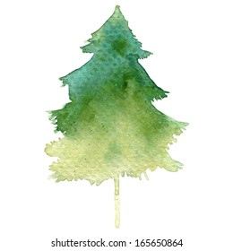 Watercolor-style vector fir tree isolated on white.