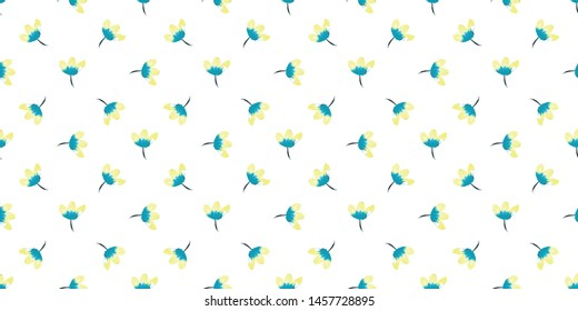 Watercolour blue and yellow flowers over light background - Simple little floral seamless pattern wallpaper or fabric - Vector