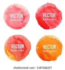 Watercolour circle set on white backgrownd. Vector illustration.