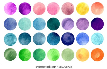 Watercolour circle textures. Mega-useful pack for you to drag and drop onto your designs. Perfect for branding, greetings, websites, digital media, invites, weddings. Bright color vector illustration.