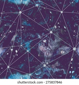 Watercolour cosmic seamless pattern. Vector hand illustrate.