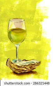 A watercolour drawing of a glass of white wine with an oyster on a green painted background, scalable vector graphic