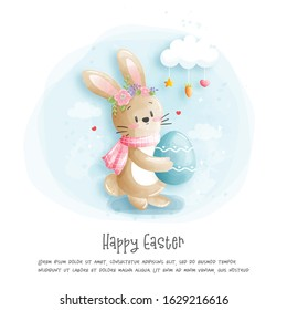 Watercolour Easter card with cute rabbit vector illustration.