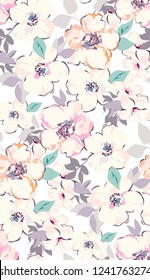 Watercolour flowers vector. Seamless pattern with tender cute flowers. Watercolour white peonies pattern in vintage colours.