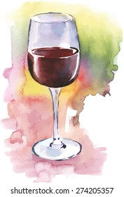 A watercolour glass of red wine, scalable vector drawing