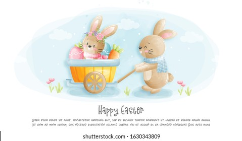 Watercolour Happy Easter card with rabbit vector illustration .