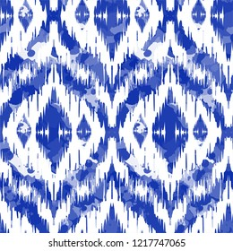 Watercolour Ikat Ogee background - Ethnic folk seamless pattern. Abstract background for textile design, wallpaper, surface textures. Boho Style