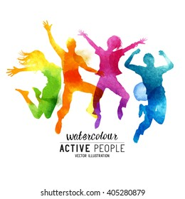 Watercolour Jumping People Vector.