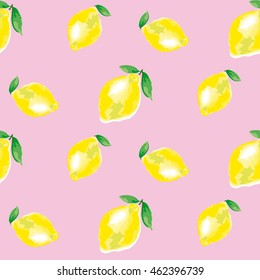 watercolour lemon element. concept vivid fashion backdrop on rosy color. watercolor seamless pattern. citrus fruit background vector illustration.
