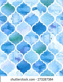 Watercolour moroccan background. Seamless vector pattern. EPS 8.